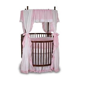 4 Piece Baby Doll Bedding Round Crib Canopy Valance Pink
