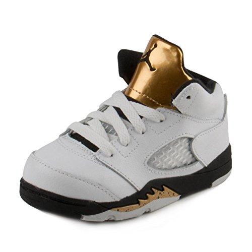 NIKE Baby Boys Air Jordan 5 Retro BG Olympic Gold White//Black-Gold Leather