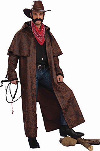 Forum Novelties Men's Texas Cowboy Duster Coat Adult Costume, Brown, Standard (Western Costumes)
