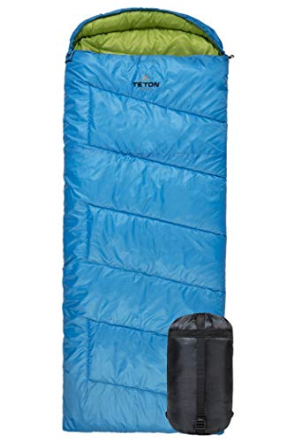 TETON Sports Cobalt Rectangular Sleeping Bag; Lightweight Backpacking Sleeping Bag for Hiking and Camping Outdoors in Warm Weather; Never Roll Your Sleeping Bag Again; Compression Sack Included ()