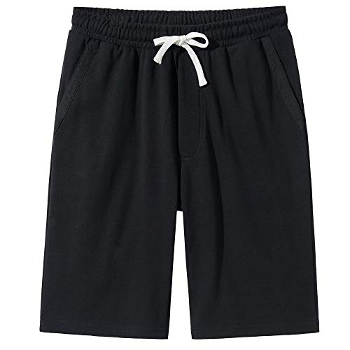 VANCOOG Men's Casual Cotton Knit Short Drawstring Elastic Yoga Gym Shorts-Black-M ()