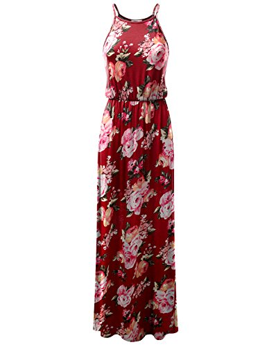 - Doublju Stretchy Side Slit Halter Neck Maxi Dress for Women with Plus Size (Made in USA) BURGUNDYROSE Small