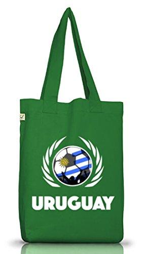 ShirtStreet Wappen Fussball WM Fanfest Gruppen Jutebeutel Stoffbeutel Earth Positive Fußball Uruguay Moss Green 2eznrGf