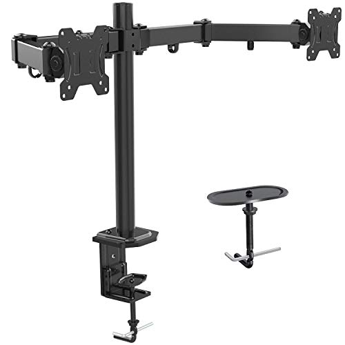 Dual Monitor Stand - Double Articulating Arm Monitor Desk Mount - Adjustable VESA Bracket with C Clamp, Grommet Mounting Base for Two 13-27 Inch LCD Computer Screens - Holds up to 17.6lbs by HUANUO ()