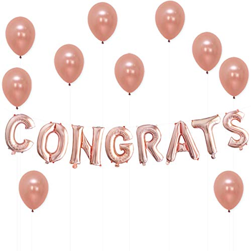 Congrats Rose Gold Balloons Decorations – Great for Graduation Decorations, Wedding, Bridal Baby Shower Party Supplies | 16 Inch Mylar Foil Letter Balloons | Extra Pack of 10 Rose Gold Latex Balloons ()