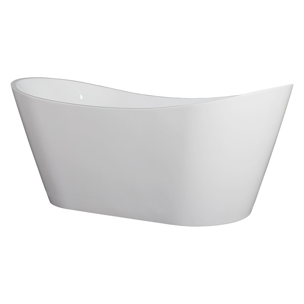 WoodbridgeBath B-0010 Modern Bathroom Glossy Acrylic Free Standing Bathtub, White by Woodbridge