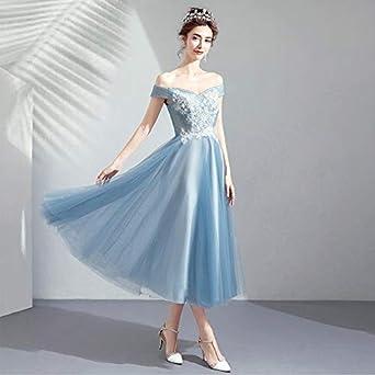 Destrb Fog Blue Short Bridesmaid Dress Birthday Dinner Party Dress Color 1 Size Xl At Amazon Women S Clothing Store