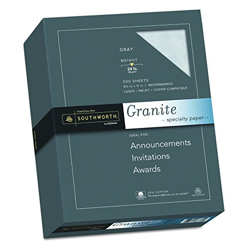 Southworth Fine Granite Paper, 24 lb, Gray, 500 Count (914C) (Southworth Parchment Paper)