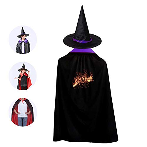 Kids Fire Wolf Halloween Costume Cloak for Children Girls Boys Cloak and Witch Wizard Hat for Boys Girls Purple