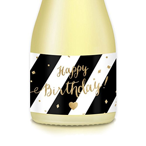 Birthday Party Decorations Mini-Champagne or Wine Bottle Labels, Black-Gold Stickers for Gal Pal, College Dorm Roommate, Girlfriend, Best Friend, Woman's B-day Celebration Gift Ideas Pony Size - Champagne Label Black