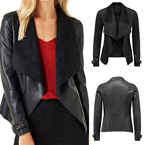 Block Pull Biker Color clair Sweat Pull Femme Vintage Solid Caps Cuir Sweat Noir Moto Veste Fermeture Femme Longues Blouse POTTOA Femmes Manteau Manches Sport Femmes Mode Tops nqI8f66S