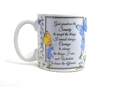 Serenity Prayer Mug - Inspirational Serenity Prayer Mug With Butterfly Design Inexpensive Gift