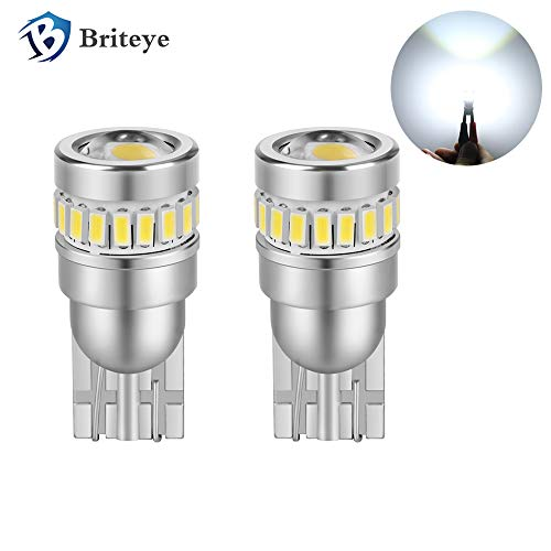 Briteye Car T10 LED Light Bulbs Canbus 2825 Error Free 194 Car Led License Plate Light Bulb 168 Led Light Bulb 192 Led Bulb Car Bulb License with Projectors 18+1SMD Leds 360° White Lighting(Pack of 2
