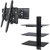2xhome – NEW TV Wall Mount Bracket (Dual Arm) & Triple Shelf Package – Secure Cantilever LED LCD Plasma Smart 3D WiFi Flat Panel Screen Monitor Moniter Display Large Displays - Long Swing Out Dual Double Arm Extending Extendible Adjusting Adjustable - 3 Tier Under TV Tempered Glass Floating Hanging Shelves Shelving Unit Rack Tower Set Bundle - Full Motion 15 degree degrees Tilt Tilting Tiltable Swivel Articulating Heavy Duty Strong Durable Support - Mounted Mounting Home Entertainment Media Center Multimedia Furniture Family Living Room Game Gaming - Management Designer Organization Space Saver System HDTV HDMI HD Video Accessories Audio Video AV Component DVR DVD Bluray Players Cable Boxes Consoles Satellite XBox PS3 - Compatible VESA 100mm x 100mm, 200mm x 200mm, 400mm x 400mm , 600mm x 400mm, 700mm x 450mm, 718mm x 450mm, 720mm (W) x 470mm(H) - Universal Fit for LG Electronics Samsung Vizio Sharp TCL Toshiba Seiki Sony Sansui Sanyo Philips RCA Magnavox Panasonic JVC Insignia Hitachi Emerson Element SunBrite SunBright 45 46 47 48 49 50 51 52 53 54 55 56 57 58 59 60 61 62 63 64 65 66 67 68 69 70 71 72 73 74 75 76 77 78 79 80 81 82 83 84 85