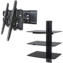 """2xhome – NEW TV Wall Mount Bracket (Dual Arm) & Triple Shelf Package – Secure Cantilever LED LCD Plasma Smart 3D WiFi Flat Panel Screen Monitor Moniter Display Large Displays - Long Swing Out Dual Double Arm Extending Extendible Adjusting Adjustable - 3 Tier Under TV Tempered Glass Floating Hanging Shelves Shelving Unit Rack Tower Set Bundle - Full Motion 15 degree degrees Tilt Tilting Tiltable Swivel Articulating Heavy Duty Strong Durable Support - Mounted Mounting Home Entertainment Media Center Multimedia Furniture Family Living Room Game Gaming - Management Designer Organization Space Saver System HDTV HDMI HD Video Accessories Audio Video AV Component DVR DVD Bluray Players Cable Boxes Consoles Satellite XBox PS3 - Compatible VESA 100mm x 100mm, 200mm x 200mm, 400mm x 400mm , 600mm x 400mm, 700mm x 450mm, 718mm x 450mm, 720mm (W) x 470mm(H) - Universal Fit for LG Electronics Samsung Vizio Sharp TCL Toshiba Seiki Sony Sansui Sanyo Philips RCA Magnavox Panasonic JVC Insignia Hitachi Emerson Element SunBrite SunBright 45"""" 46"""" 47"""" 48"""" 49"""" 50"""" 51"""" 52"""" 53"""" 54"""" 55"""" 56"""" 57"""" 58"""" 59"""" 60"""" 61"""" 62"""" 63"""" 64"""" 65"""" 66"""" 67"""" 68"""" 69"""" 70"""" 71"""" 72"""" 73"""" 74"""" 75"""" 76"""" 77"""" 78"""" 79"""" 80"""" 81"""" 82"""" 83"""" 84"""" 85"""""""