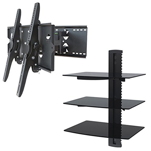 2xhome – NEW TV Wall Mount Bracket (Dual Arm) & Triple Shelf Package – Secure Cantilever LED LCD Plasma Smart 3D WiFi Flat Panel Screen Monitor Moniter Display Large Displays - Long Swing Out Dual Double Arm Extending Extendible Adjusting Adjustable - 3 Tier Under TV Tempered Glass Floating Hanging Shelves Shelving Unit Rack Tower Set Bundle - ...