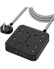 LENCENT Extension Lead with USB C Port, 4 Way Outlets Power Strip with 4 USB Ports (3.4A, 1 Type C and 3 USB-A Ports) Multi Plug Charging with 1.8M Braided Extension cord for Home Office- Black