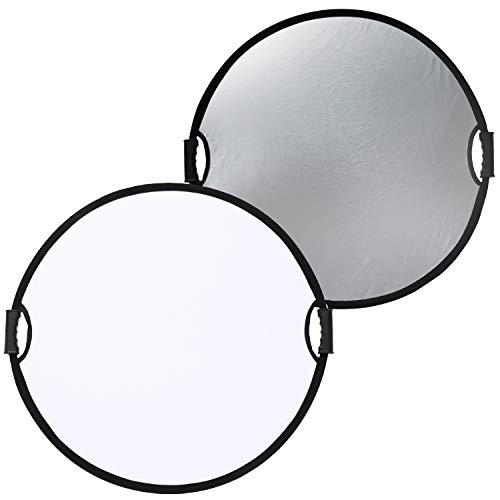 Lontem 촬영용 손잡이가 달린 원형 반사판 직경 접이식 실버 & 화이트 청소포 포함 60cm / 80cm