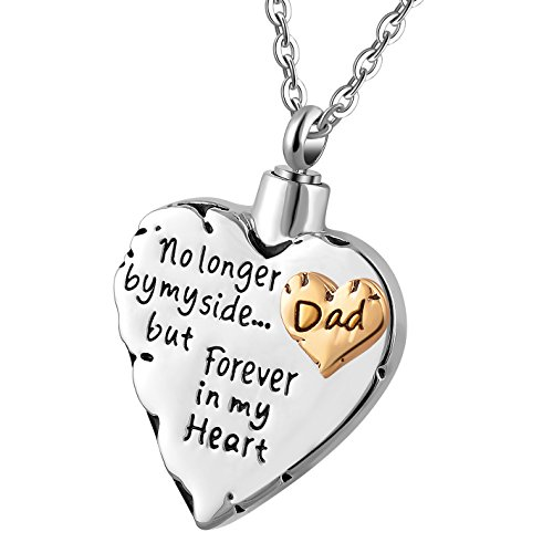 Meice Memorial Necklace for mom,dad,pet,no Longer by My Side Forever in My Heart Cremation Pendant Jewelry