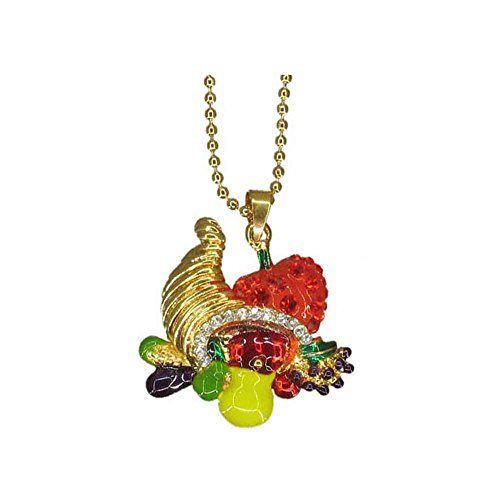 Cornacopia with Thanksgiving basket and Pumpkin Fruit of Plenty Handmade Swarovski Crystals Handpainted NEW Gift Necklace RSN2277