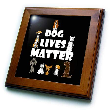 3dRose All Smiles Art - Pets - Funny Cute Dog Lives Matter Dog Rescue Cartoon - 8x8 Framed Tile (ft_309095_1)