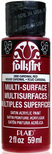 FolkArt Multi-Surface Paint in Assorted Colors (2 oz), 2900, Cardinal Red