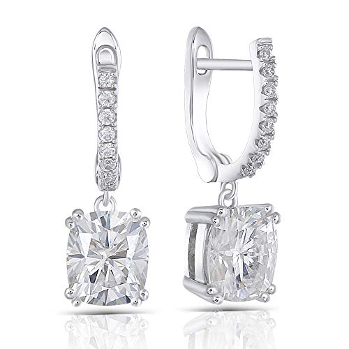 DovEggs 14K White Gold Post 3ct Center 6X7mm H-I Color Cushion Cut Moissanite Earrings Platinum Plated Sterling Silver Hoop Earrings For Women