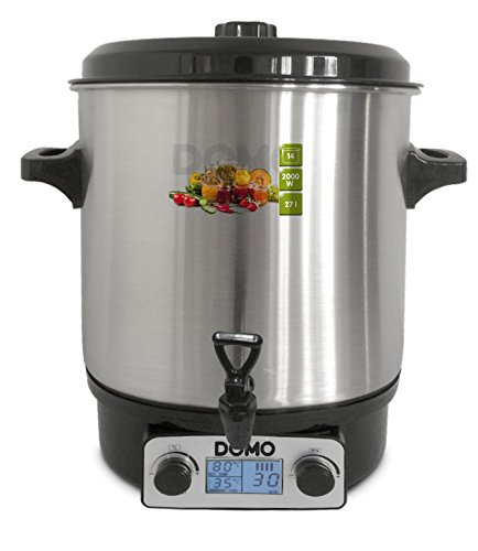 domo enjoy cooking DOMO Pentola a pressione con rubinetto di scarico, 27 litri, 2000 W, display digitale; DO42325PC