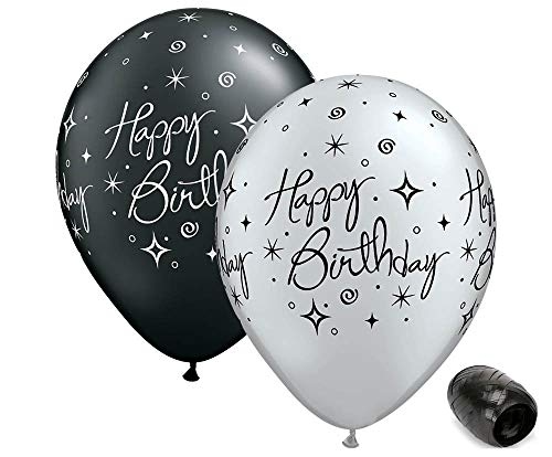 10 Pack 11 Assorted Colors Jewel 50 Around 50th Birthday Latex Balloons with Matching Ribbon