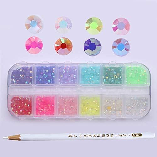 Nails Art Accessories - 3D Nail Art, Nail Art Rhinestones 1 Box AB Color Nail Rhinestone with Dotting Pen Clear Flat Bottom Multi-size Crystals Manicure Nail 3D Decoration Strass Gem - Pattern 2