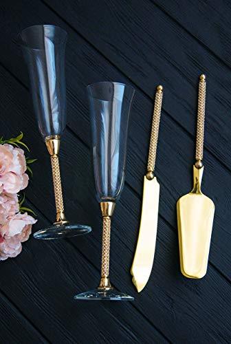 Wedding glasses and cake set gold Swarovski Crystal Wedding toast flute Personalized Wedding champagne flutes cake server Cake cutting set