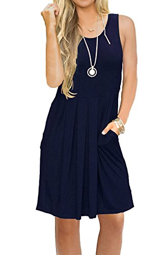 JOSIFER Womens Cute Casual Summer Aline Dresses Tshirt Swing Beach Dress for Women Knee Length Sundress Elegant (Blue Sundress Dress)
