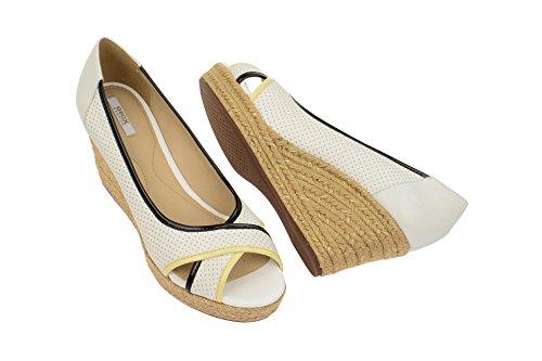 Geox D62N7B 08502C0404 - Zapatos de vestir de Piel para mujer Blanco blanco Blanco - blanco