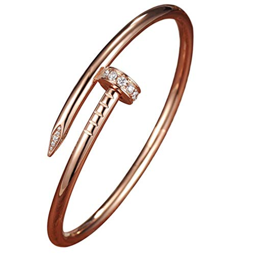 DAIDCI Womens Fashion Titanium Steel Jewelry Women's Stainless Steel Nail Love Bracelet (Rose Gold)
