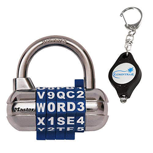 Master Lock 1534D Password/Word Plus Combination Lock, Assorted Colors Bundle with a Lumintrail Keychain Light ()