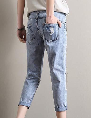 Femme Pantalon YFLTZ Unie Trou Couleur Jeans Blue Basic qtpwr8dxp