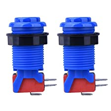 Quimat 2Pcs Blue Push Buttons with Micro switch for Arcade Video Game Multicade MAME Jamma Game QR505