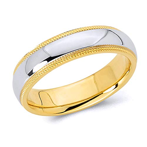 Wellingsale 14k Two 2 Tone White and Yellow Gold Polished 5MM Domed Center Milgrain Comfort Fit Wedding Band Ring - size 7.5