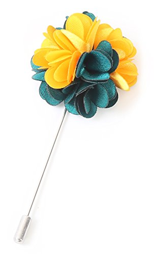 - Flairs New York Gentleman's Essentials Premium Handmade Flower Lapel Pin Boutonniere (Pack of 1 Pin, Emerald Green/Yellow [2 Tones Daisy])