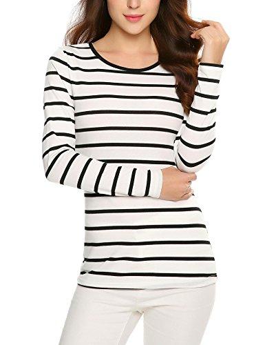 Zeagoo Women's Black and White Stripes Long Sleeve T-shirt Tops Black S