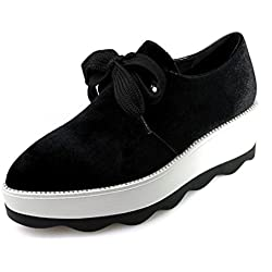Baqijian New Bottom Shoes 2017 Spring Bullock Pointed England College Women'S Shoes Wedge Creepers Platform Pumps Black 4.5