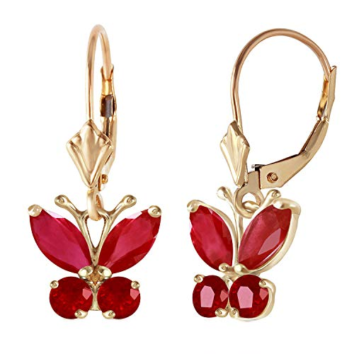Galaxy Gold 14K Solid Yellow Gold Butterfly Earrings Natural Ruby