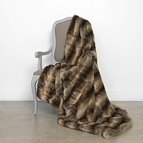Best Home Fashion Faux Fur Throw - Lounge Blanket - Chinchilla - 58
