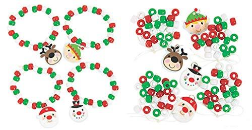 Fun Express Christmas Charm Bracelet Craft Kits - 12 Pack - Kids Holiday Craft Kits