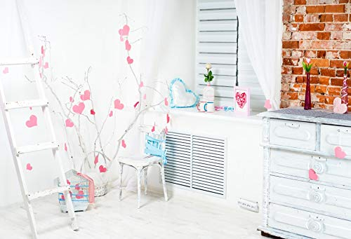 Leyiyi 2019 Valenine's Day Backdrop 10x8ft Photography Backdrop Withered Branch Hanging Pink Love Heart Retro White Chest Heart Pillow Wooden Ladder Double Cup Lovers Room Backdrop Photo Booth Prop
