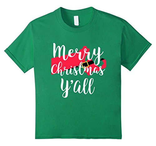 Kids Merry Christmas Yall Funny Santa State Shirt Massachusetts 10 Kelly Green (Teenage Girl Halloween Outfit Ideas)
