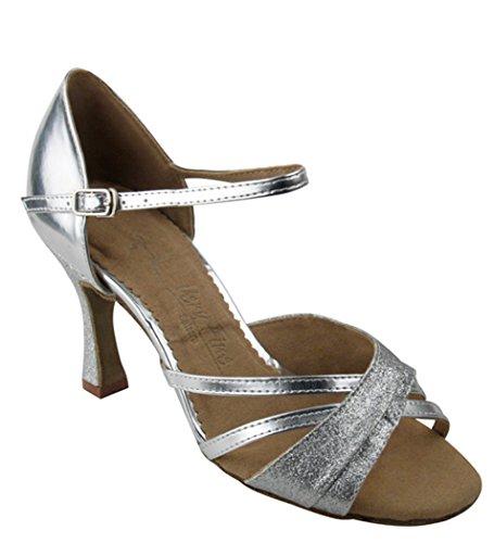 Scarpe Molto Fini Serie Salsera Sera6030 3 scarpe Da Ballo Tacco Argento Stardust E Pelle Argento