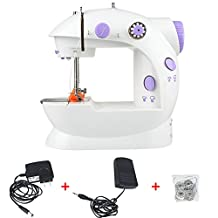 Sewing Machine Household Mini 2-Speed Free-Arm Sewing Machine with Foot Pedal Sewing Machine Durable Convenient And Quick (Small white)