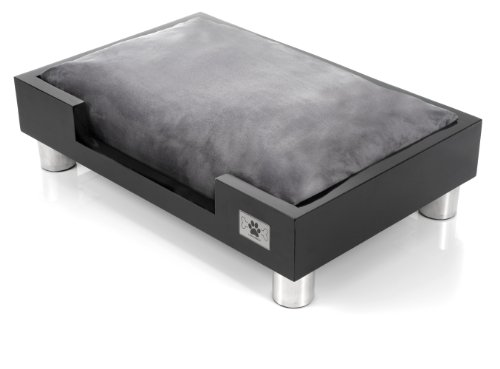 LazyBonezz Madison Low to the ground Dog or Cat Bed, Ebony, My Pet Supplies