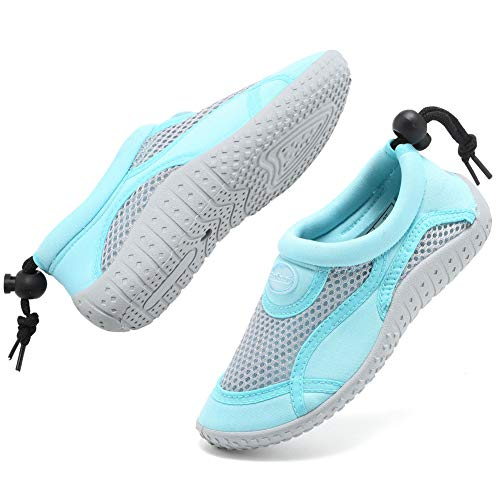 GLOBTOUCH Boys Girls Water Shoes Toddler Breathable Running Sneakers Sandals Pool Beach Athletic Slip on Aqua Sock-THSX-Light blue-21